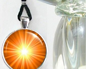 Orange Chakra Necklace, Reiki Jewelry, Starbust Second Chakra Emotions