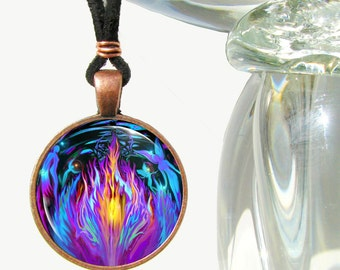 "Violet Flame Angel Necklace, Reiki Energy Pendant Chakra Jewelry ""Transmutation"""