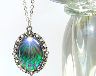 "Chakra Jewelry, Reiki Energy Necklace, Blue Green Pendant Necklace ""New Growth"""