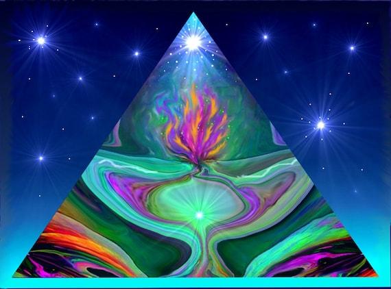 Energy Art Pyramid Violet Flame Abstract Art Reiki Print
