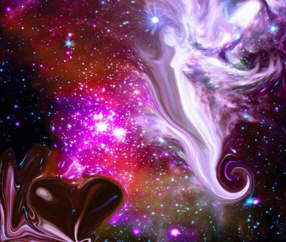 Spiritual Art Wall Decor Abstract Reiki Guardian Angel Stars Moon Energy Art Print Ethereal 8 x 10