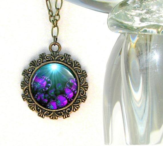 Purple Jewelry Third Eye Chakra Necklace Reiki Energy Healing Pendant Necklace