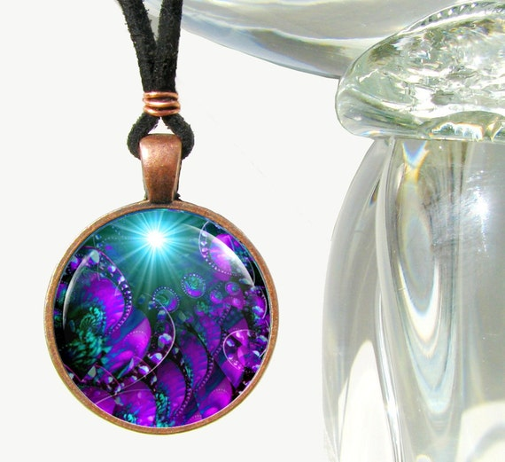 Purple Necklace Chakra Jewelry  Reiki Healing Energy Necklace Third Eye Copper