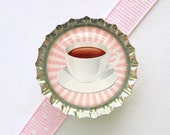 Coffee Cup Bottle Cap Magnet - pink tea party favor, tea party decoration, coffee decor, coffee kitchen decor, coffee lover gift, tea cup - CherryCute