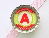 Monogram Red & Green Bottle Cap Magnet - monogram gift, monogram decor, summer party, watermelon kitchen decor, personalized organization