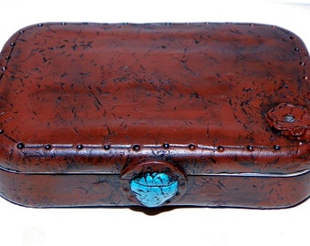 Faux leather and turquoise covered tin