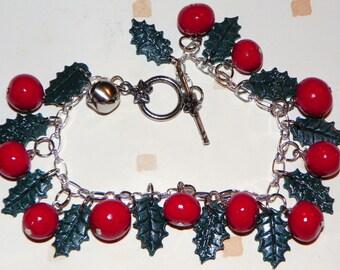 Christmas holly charm bracelet