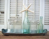 Beach Cottage -  Vintage Bottle Collection In Tin Tray With Starfish Specimen (size large)