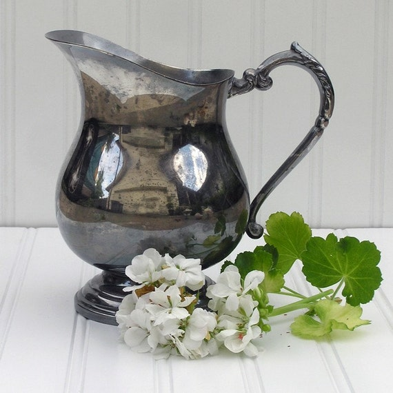 Beach Cottage Style Tarnished Silver Pitcher
