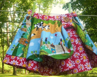 Girls Cotton Circle Skirt, Farm Scene, Size 4