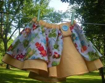 Girls Cotton Circle Skirt, Frogs and Toadstools, Size 3