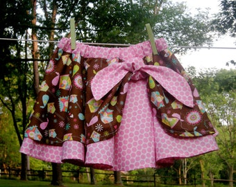 Girls Skirt Brown and Pink Polka Dot Birds and Birdhouses, Size 4