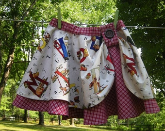 Girls Handmade Cotton Circle Skirt, Michael Miller Alphabet Print, Size 5