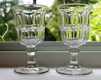 EAPG Ashburton flint glass goblets mid-1800s Giant Squared pattern