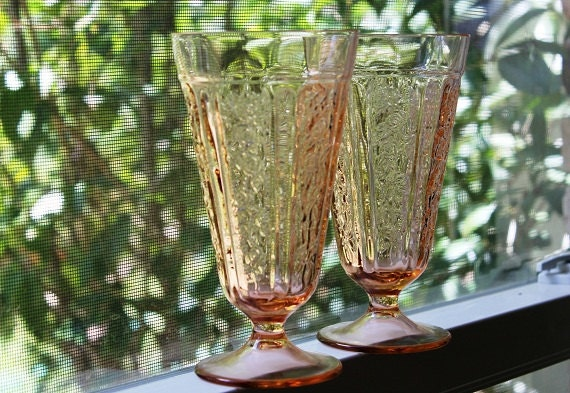 """Depression glass pink 6 1/2"""" Sharon a/k/a Cabbage Rose Federal Glass footed tumblers pair 1935 - 1939"""