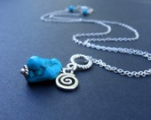 Again - Turquoise Nugget, Silver Charm & Chain - NECKLACE
