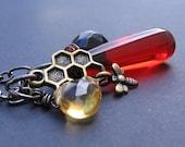 Nectar - Watermelon Red Quartz, Black Goldstone & CZ Citrine Quartz, Hand Wire-Wrapped, Bronze Honey Bee and Comb, Gunmetal - NECKLACE