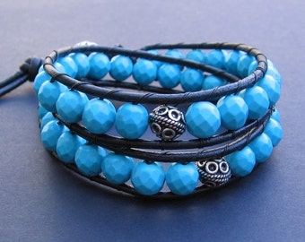 Leather Wrap Bracelet (2x) - Facetted Turquoise Blue Howlite & Black Leather, Bali Beads, Large Bali Bead Closure - by We Are 1