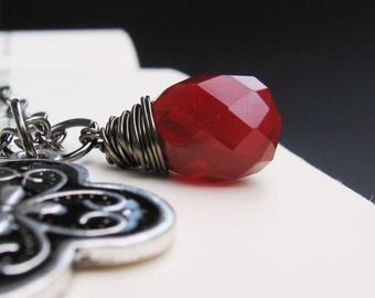 Red & Black Teardrop Necklace - Opaque Crimson Quartz Teardrop, Wire Wrapped, Metal and Black Pendant, Gunmetal Chain - Kerra by We Are 1