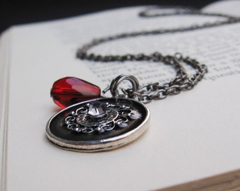 Ambra - Crimson Red Drop, Metal and Black Pendant with Crystal Inset, Gunmetal Chain - NECKLACE