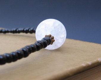 Full Moon - Frosted Crackle Quartz, Black Glass Beads, Brass/Garnet Accents - NECKLACE