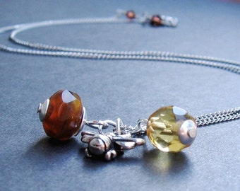 Honey Bee Pewter Charm, Czech Golden Citrine, Czech Tortoise Shell, Sterling Silver Dome Caps, Silver Chain, We Are 1 - NECKLACE
