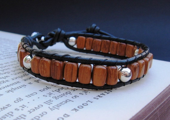 Leather Wrap Bracelet (1x) - Bayong Wood & Silver, Black Leather, Heart Button Closure - by We Are 1