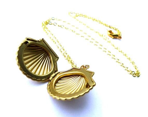 Seashell Necklace - Shell Jewelry, Golden Vintage Locket