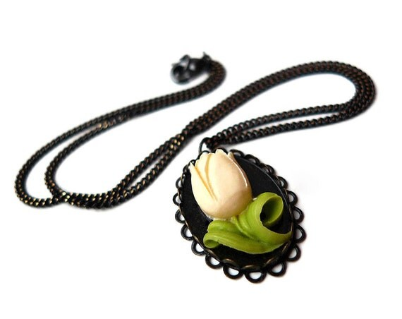 White Tulip Necklace - Floral Jewelry, Spring Fashion, Forgiveness