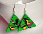 Polymer Clay earrings, bright colorful summer look in green