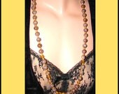 Antique Necklace Amber Crystals & Mauve Agate Beads Continuous Single Strand Graduated Beads Rondelles and Biconess