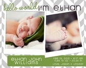 Herringbone Photo Birth Announcement Digital File - Boy or Girl