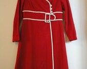 Vintage Red Suit Dress / Jacket with Belt