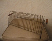 Vintage Mid Century Gold Metal Wire Record Rack