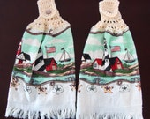 Lighthouse and Sailboats Altered Crochet Kitchen Towel