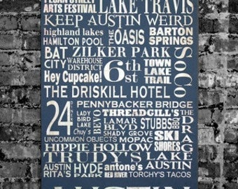 Austin Destinations Personalized Typography Art