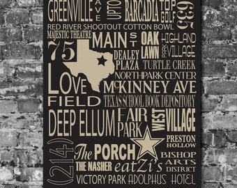 Dallas Destinations Personalized Typography Art
