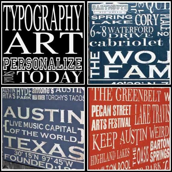 "Personalized Typography Art - Medium Square (20""W x 20""H x 2""D)"