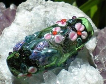 Blue and Pink Flowers on Handmade Lampwork Bead