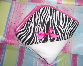 Zebra and Hot Pink Hooded Towel
