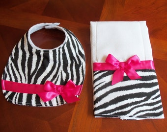 Burp Cloth - Bib Set,  Zebra and Hot Pink, Burp Cloth & Bib Set,  Baby Girl Cloth Set, Shower, Baby Gift, Newborn, Girl Set, Girls Bib Set,