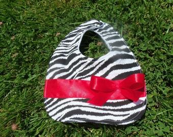 Baby Bib - Zebra with Red