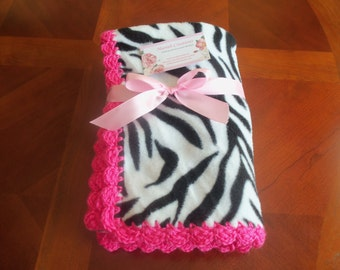 Baby Blanket - Zebra Fleece with Hot Pink Crochet Edge