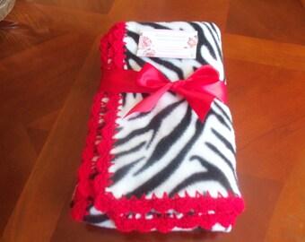 Zebra Fleece Baby Blanket with Red  Crochet Edge