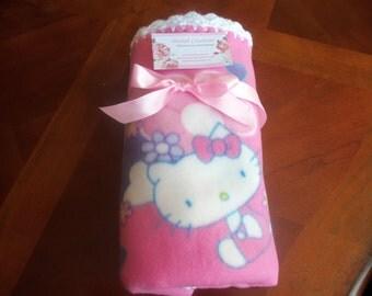 Hello Kitty  Fleece Baby Blanket with White Crochet Edge