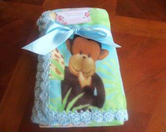 Unisex Jungle Babies Fleece Baby Blanket with Blue Crochet Edge
