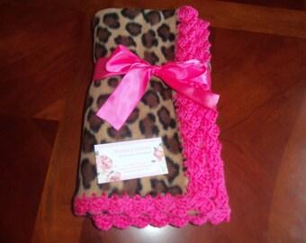 Baby Blanket - Leopard Fleece with Hot Pink Crochet Edge