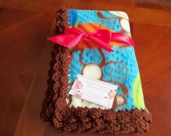 Baby Blanket Monkey Fleece with Brown  Crochet Edge