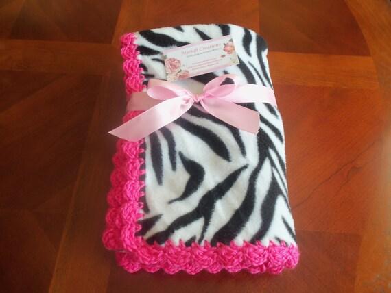 Baby Blanket - Zebra Fleece with Hot Pink Crochet Edge