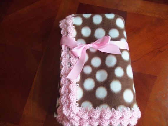 Baby Blanket  Brown Polka - Dots  Fleece with Pink Crochet Edge.